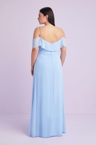 - Buz Mavisi İnce Askılı Şifon Uzun Büyük Beden Abiye Elbise - Oleg Cassini
