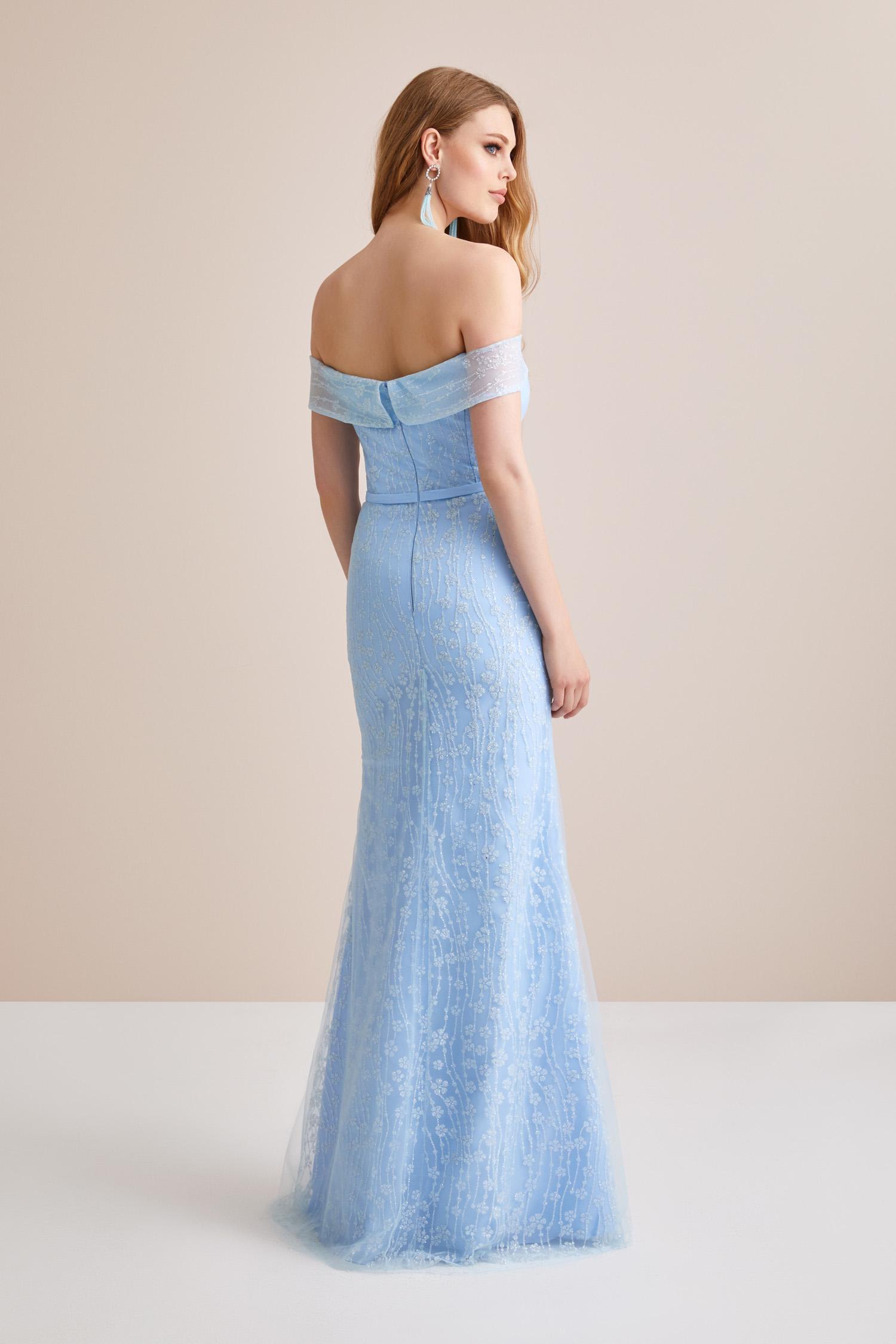 Buz Mavisi Kayık Yaka Dantel İşlemeli Uzun Abiye Elbise - Thumbnail