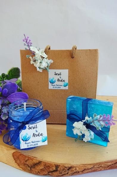 Bridalook - Çantada Mum & Sabun Mavi Set