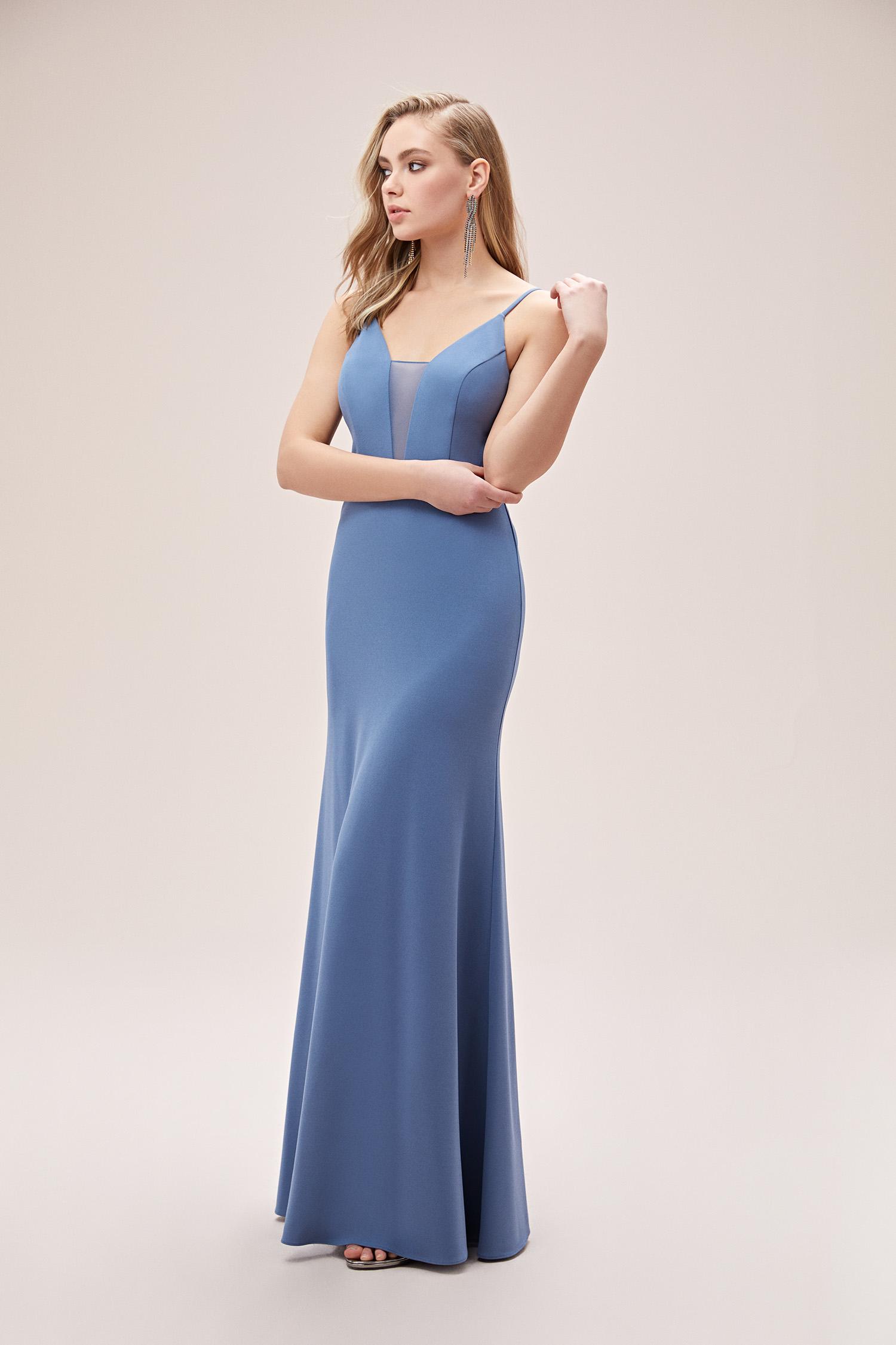 Çelik Mavisi İnce Askılı Dar Uzun Elbise - Thumbnail