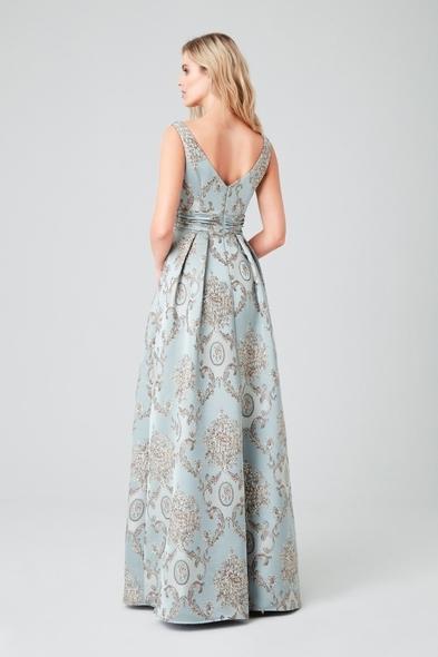 Viola Chan - Açık Mavi Askılı Brokar Uzun Abiye Elbise