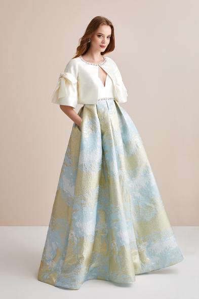 Viola Chan Premium - Çiçek Desenli Mikado Kumaş İki Parça Abiye Elbise