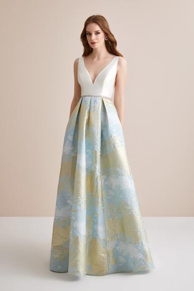Viola Chan Premium - Çiçek Desenli Mikado Kumaş İki Parça Abiye Elbise (1)
