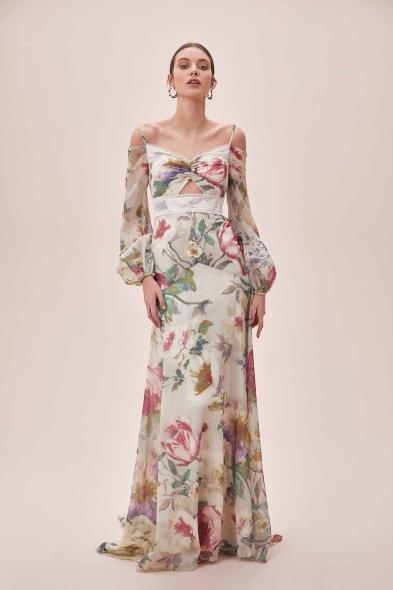 Viola Chan - Çiçek Desenli Uzun Balon Kollu Şifon Uzun Elbise (1)