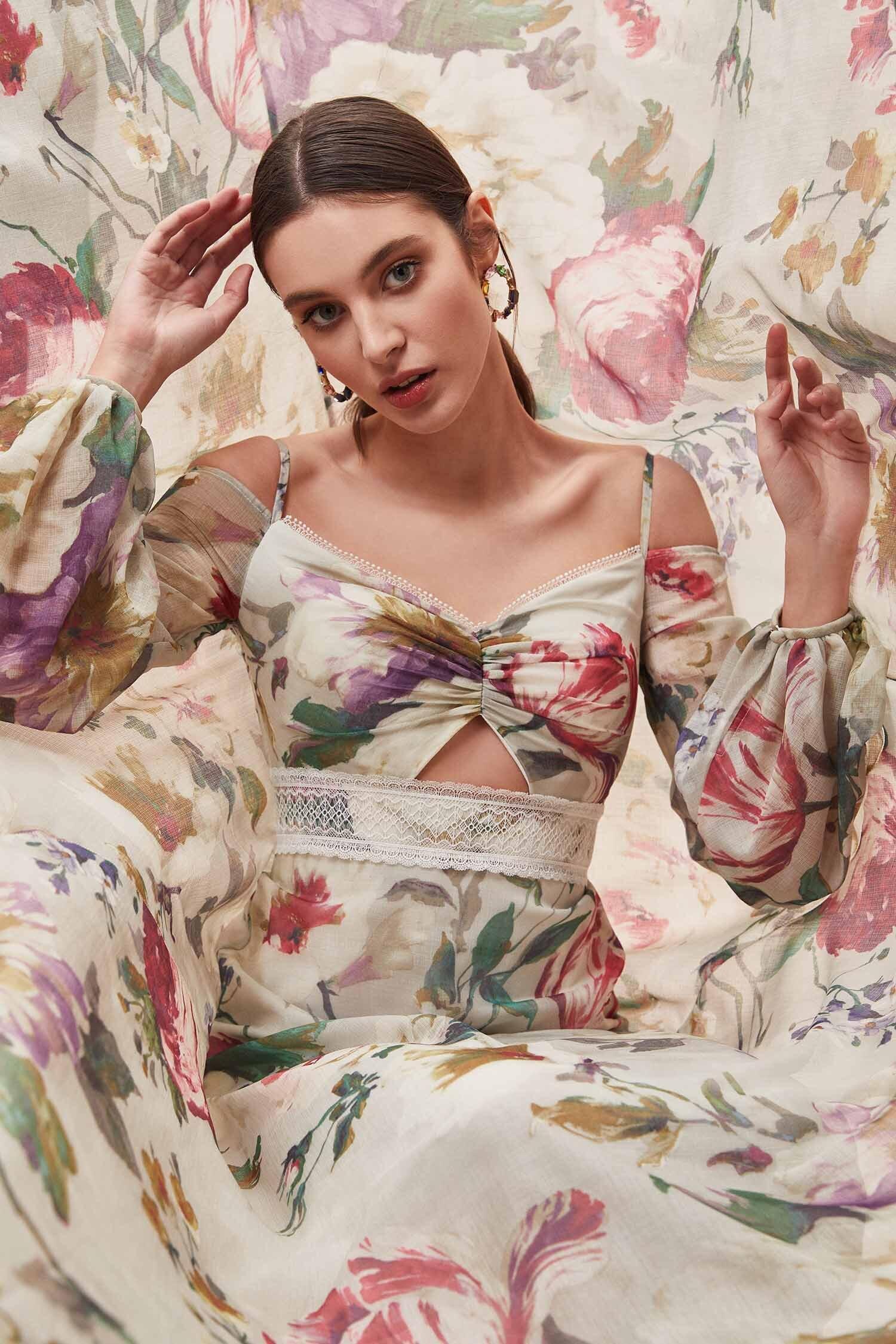 Çiçek Desenli Uzun Balon Kollu Şifon Uzun Elbise - Thumbnail