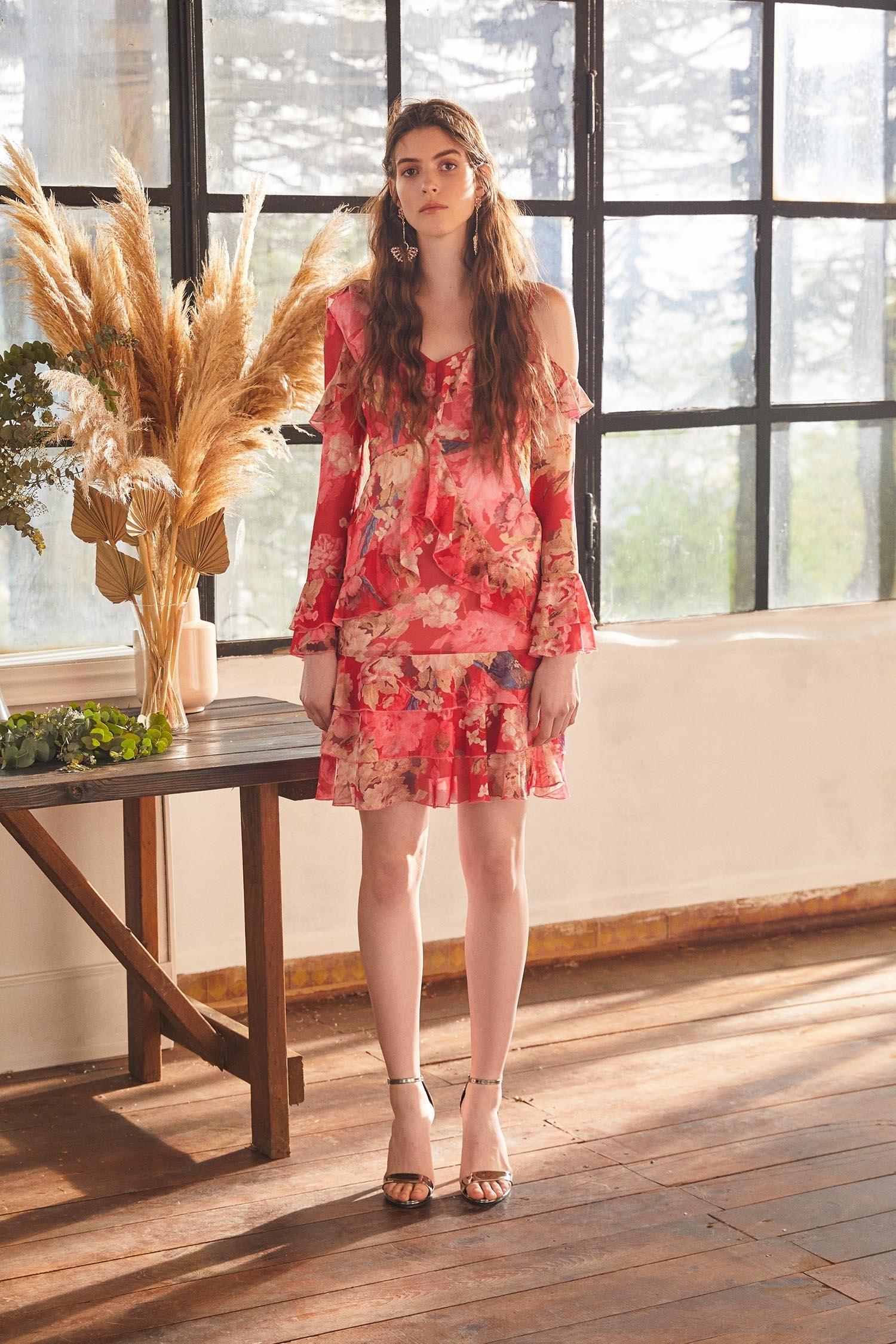 Çiçek Desenli Uzun Kollu Şifon Mini Bohem Elbise - Thumbnail