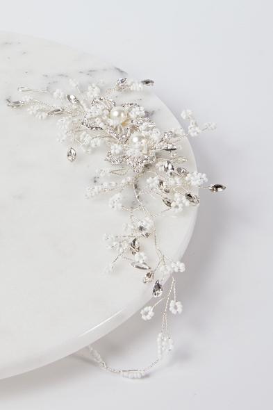 Oleg Cassini - Çiçek Detaylı Boncuklu Gümüş Gelin Tacı (1)