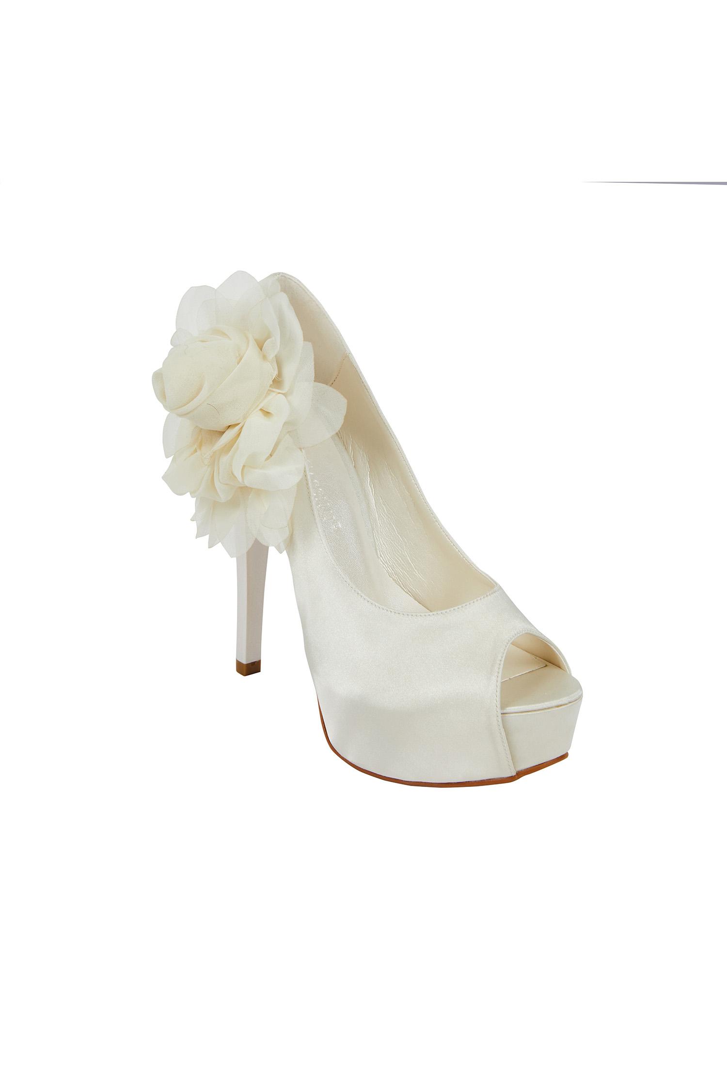 Çiçek Detaylı Yüksek Topuklu Saten Gelin Ayakkabısı