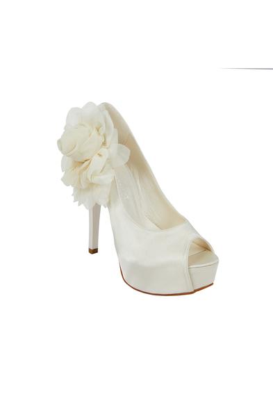OLEG CASSINI TR - Çiçek Detaylı Yüksek Topuklu Saten Gelin Ayakkabısı