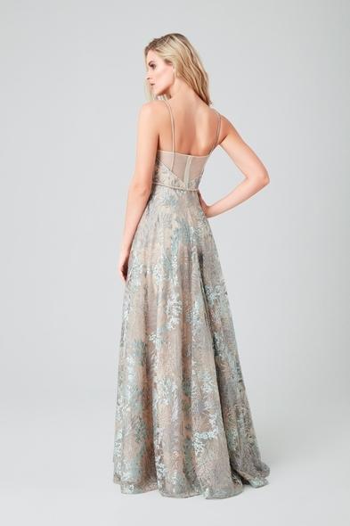 Renkli Askılı Dantel Uzun Gece Elbisesi
