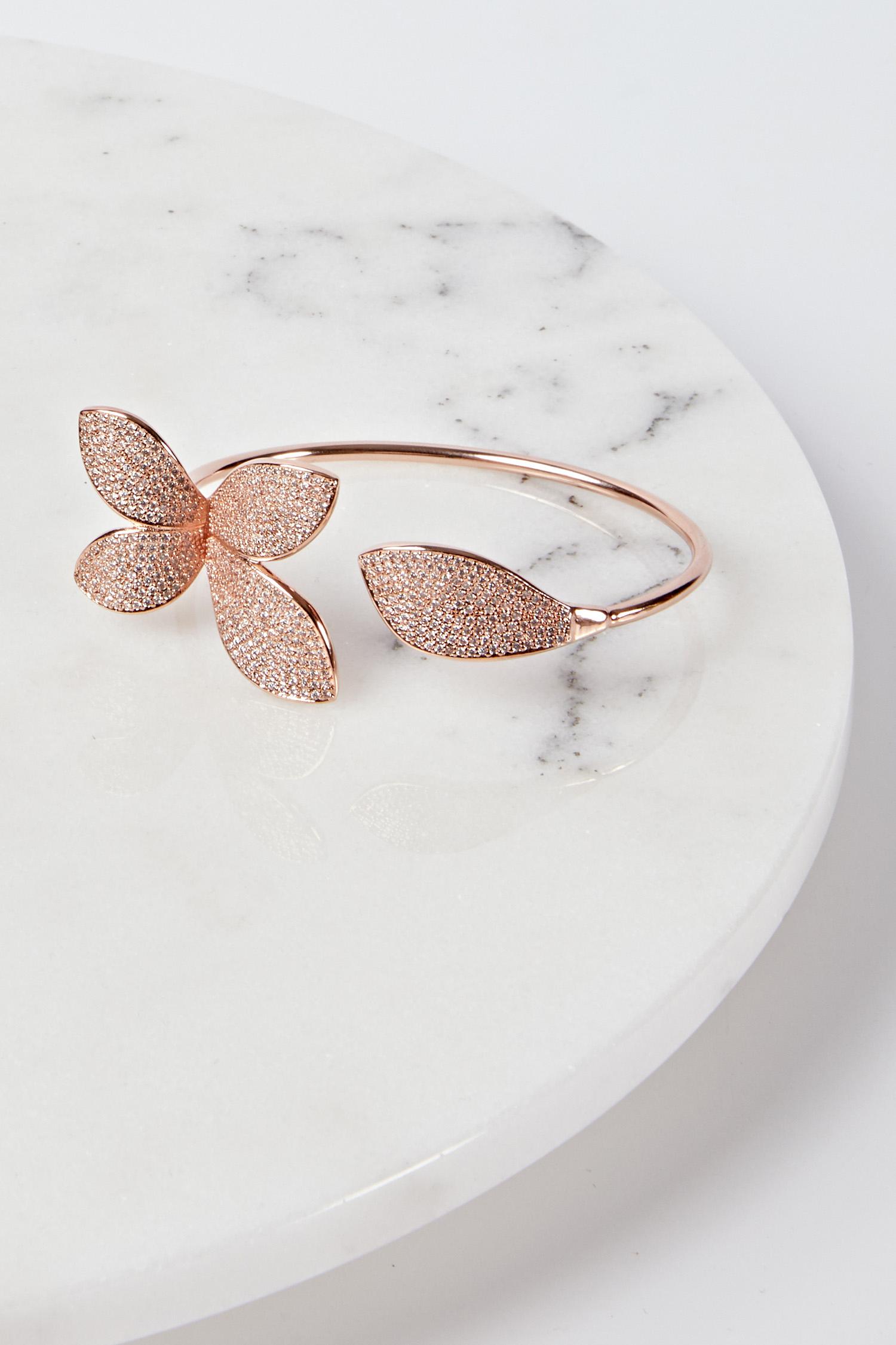 Çiçek Motifli Rose Gold Abiye Bilezik