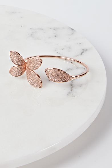 Oleg Cassini - Çiçek Motifli Rose Gold Abiye Bilezik