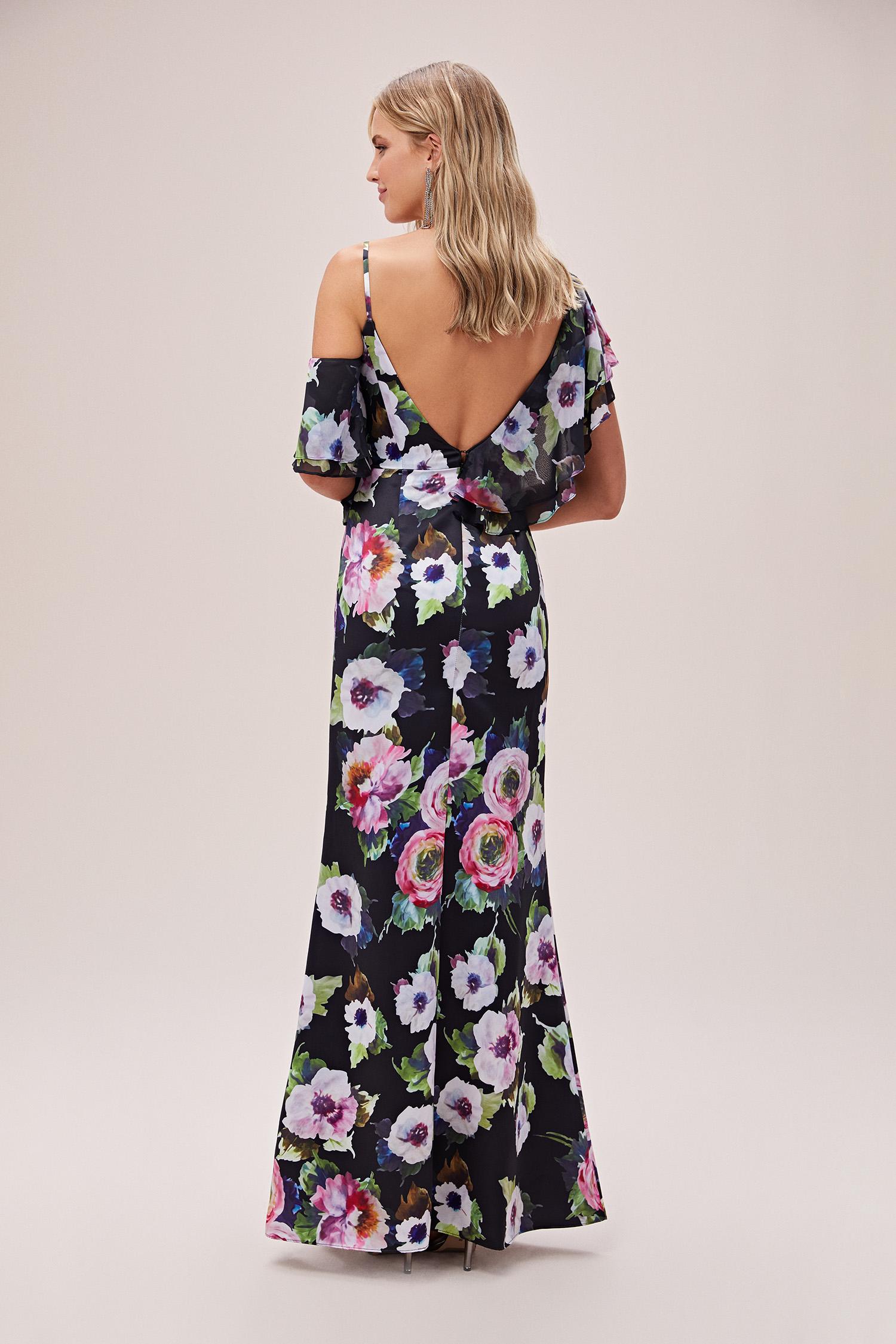 Siyah V Yaka Farbalalı Çiçekli Şifon Uzun Elbise - Thumbnail