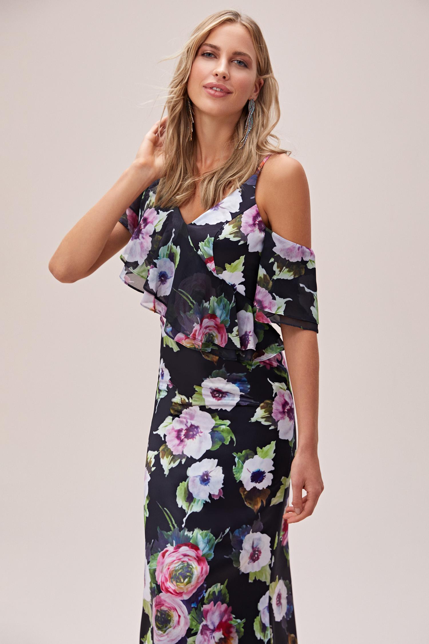 Çiçekli Askılı Fırfırlı Şifon Uzun Abiye Elbise - Thumbnail