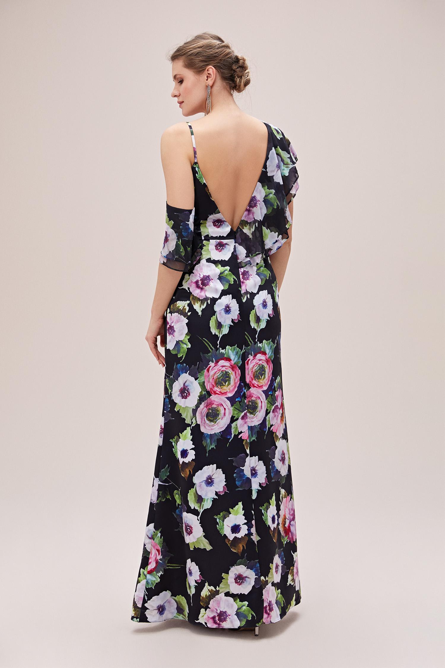 Siyah V Yaka Farbalalı Çiçekli Şifon Büyük Beden Elbise - Thumbnail