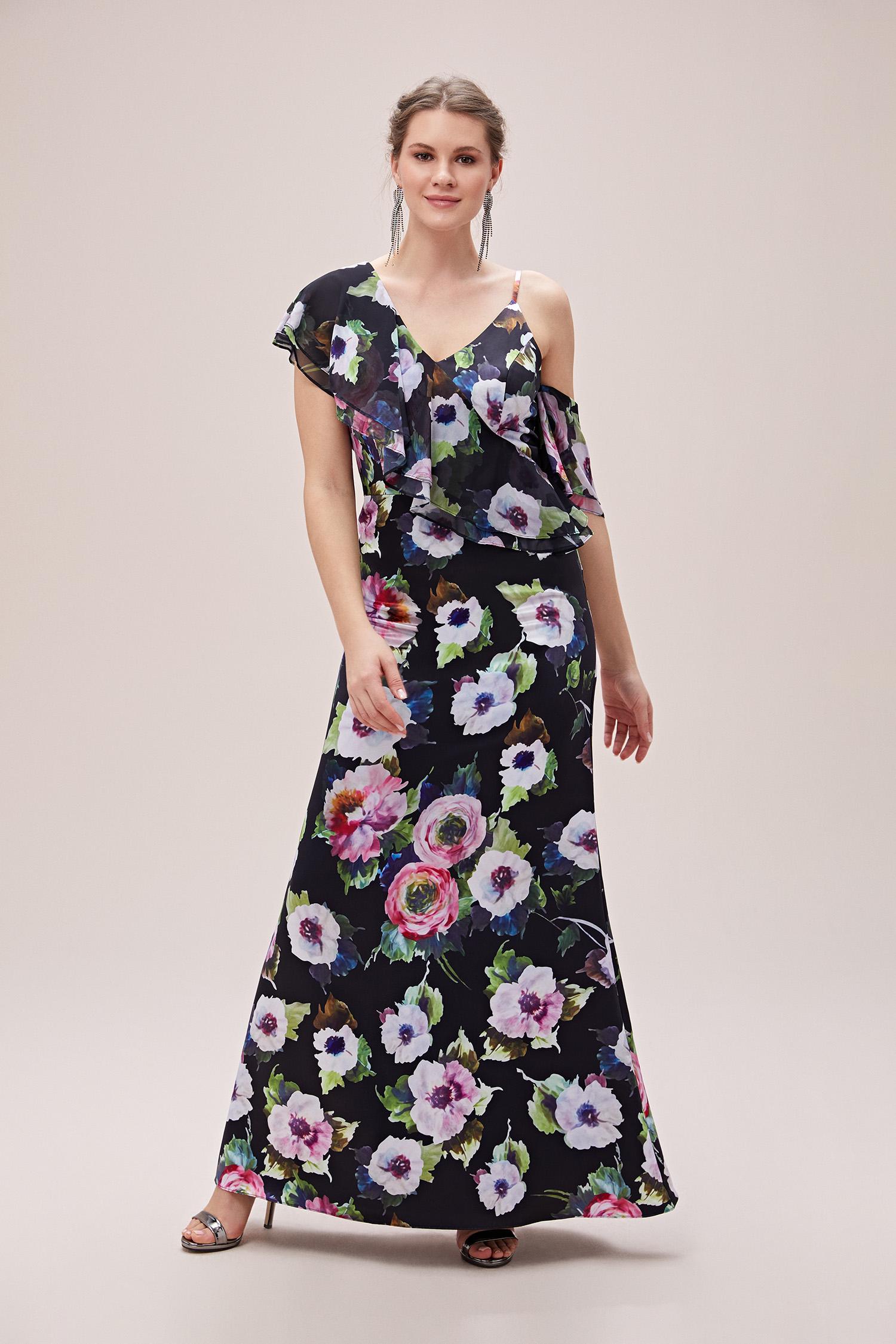 Çiçekli Askılı Fırfırlı Şifon Uzun Büyük Beden Abiye Elbise - Thumbnail