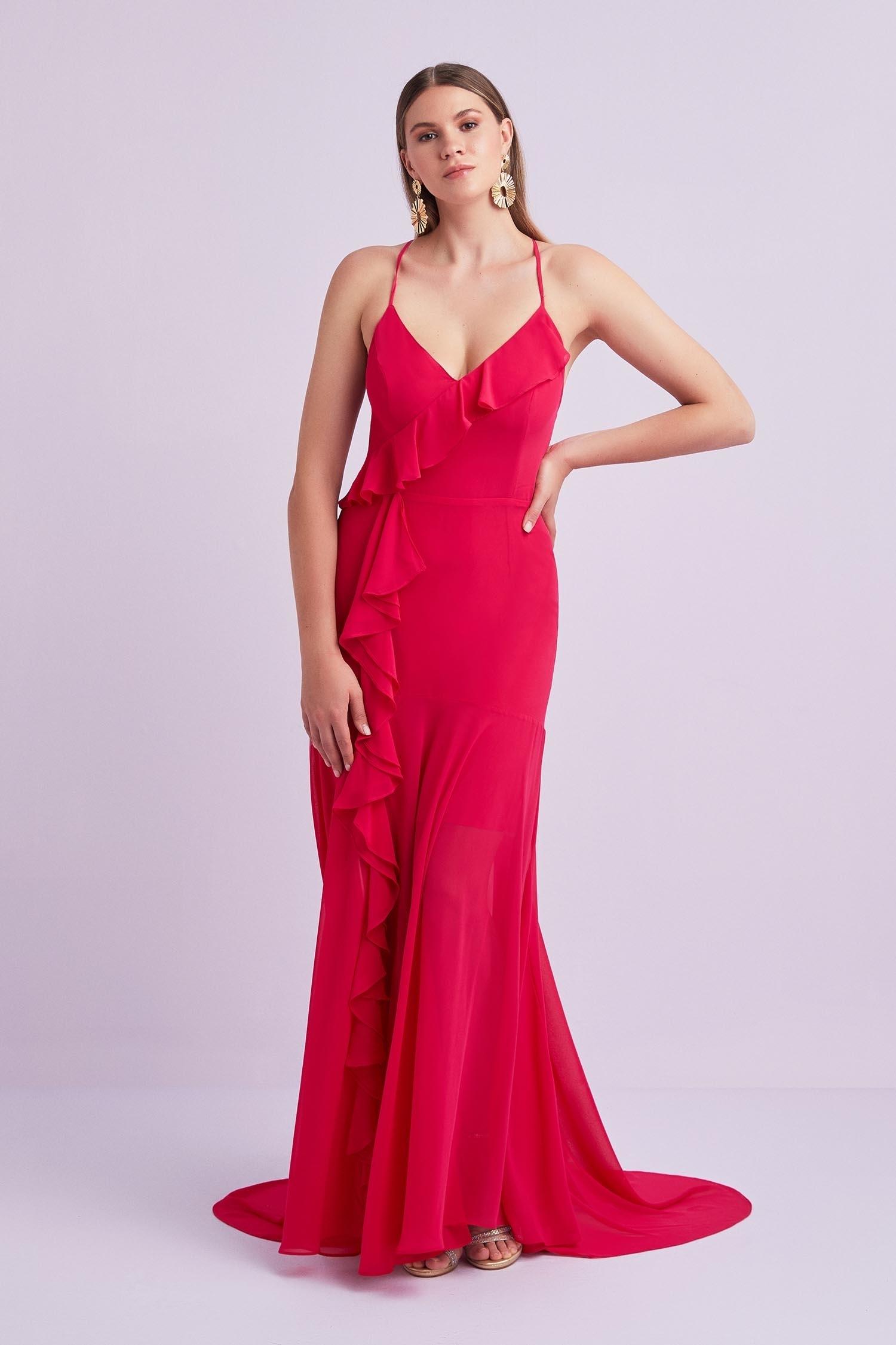 Çingene Pembesi Askılı Şifon Uzun Büyük Beden Elbise - Thumbnail