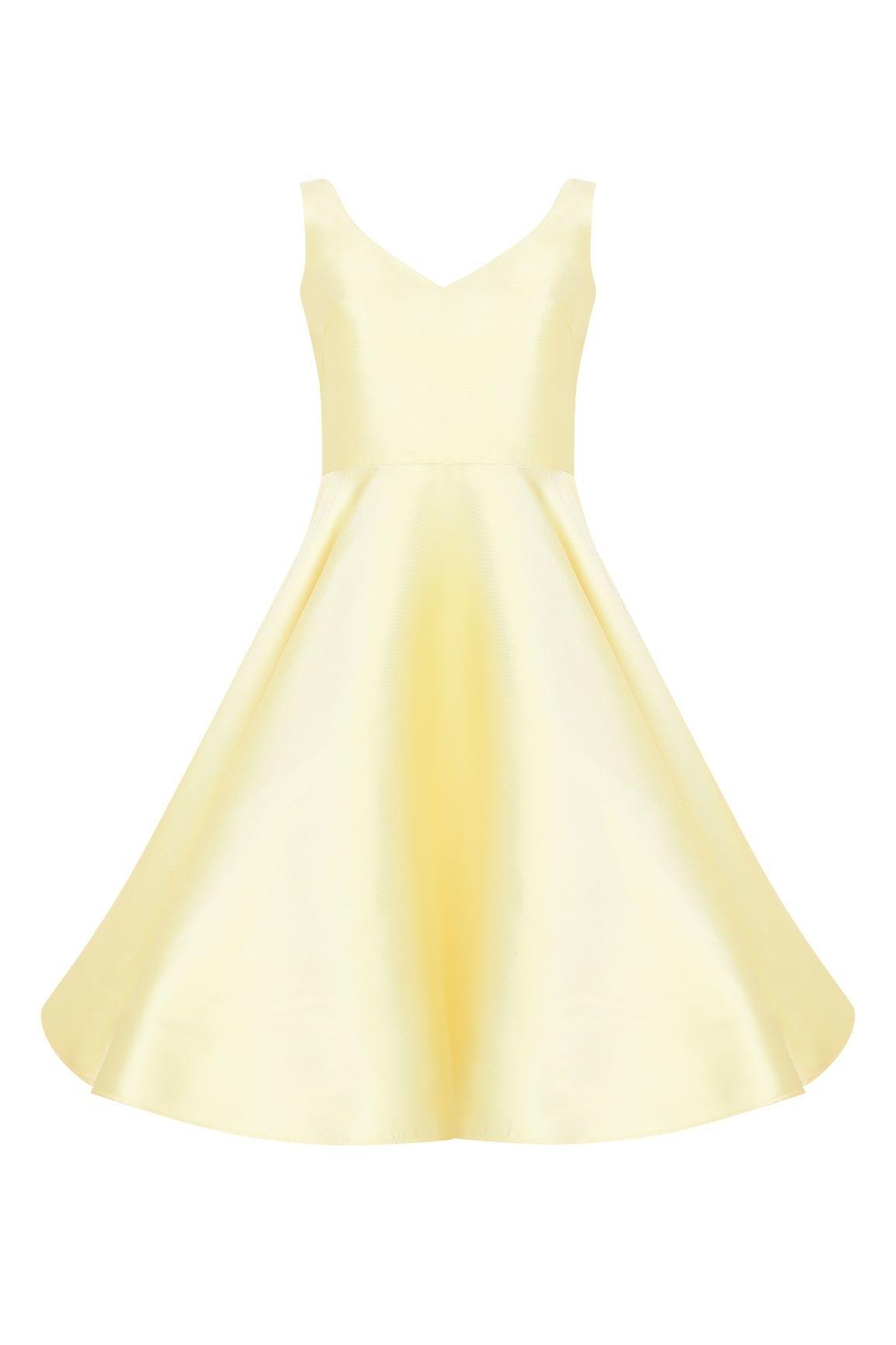 Civciv Sarısı V Yaka Saten Kloş Etekli Kısa Abiye Elbise - Thumbnail