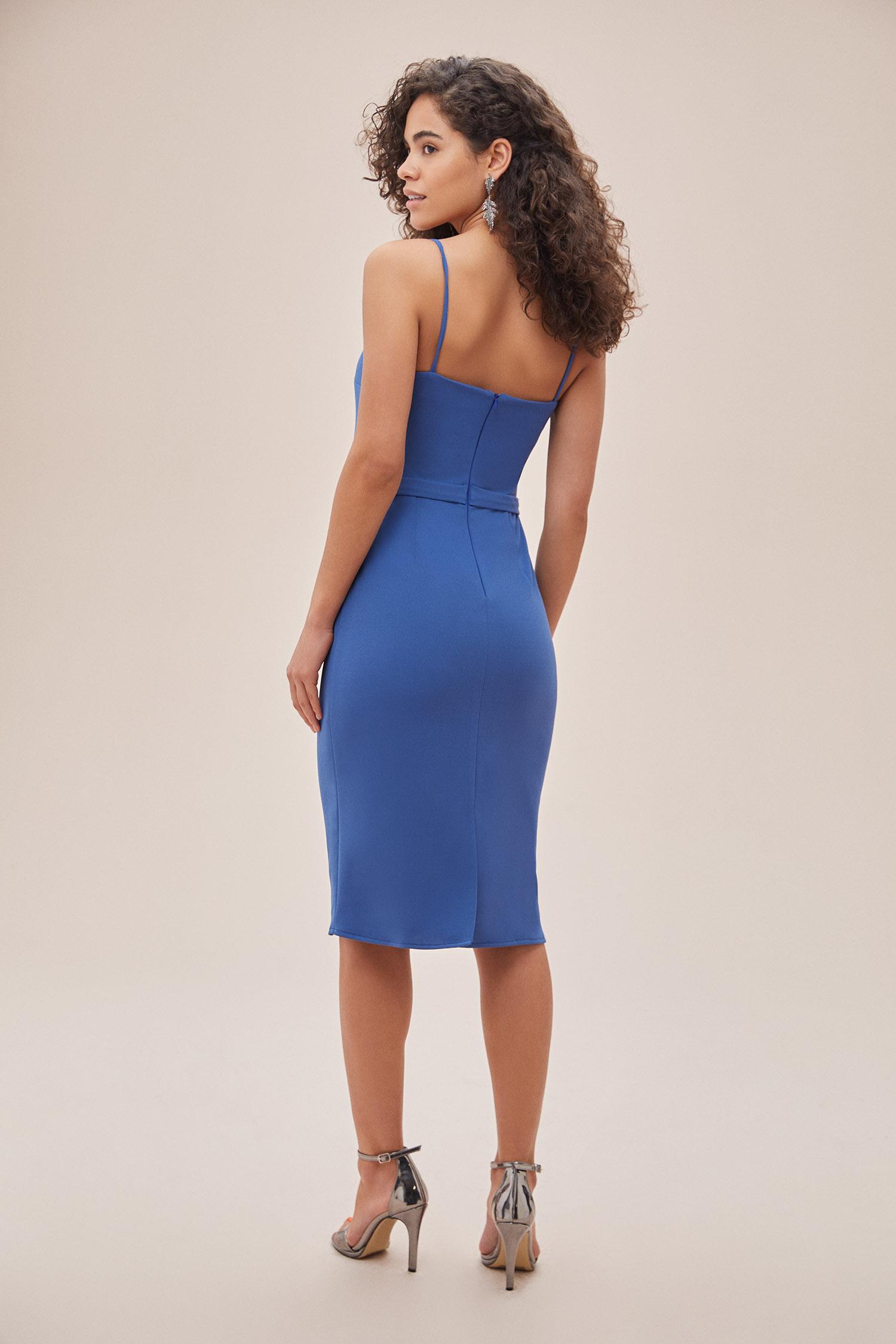 OLEG CASSINI TR - Çivit Mavisi İnce Askılı Midi Boy Krep Elbise (1)