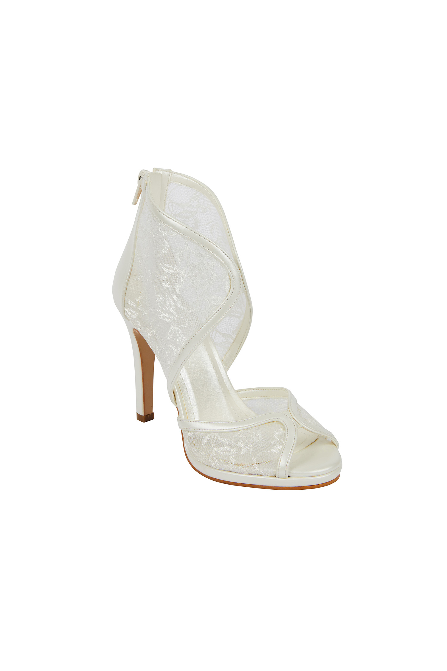 Dantel İşlemeli Kırık Beyaz Gelin Ayakkabısı