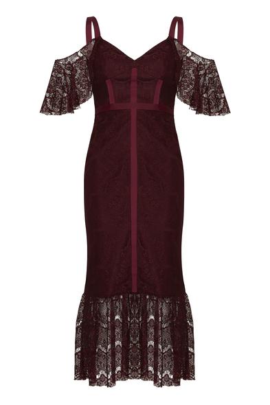 Dantel İşlemeli Şarap Rengi Midi Elbise