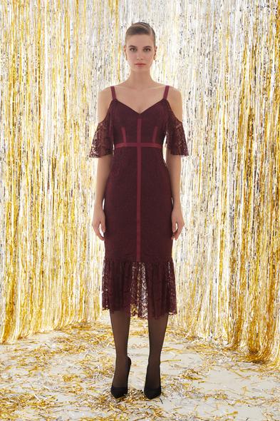 VC by Viola Chan - Dantel İşlemeli Şarap Rengi Midi Elbise (1)