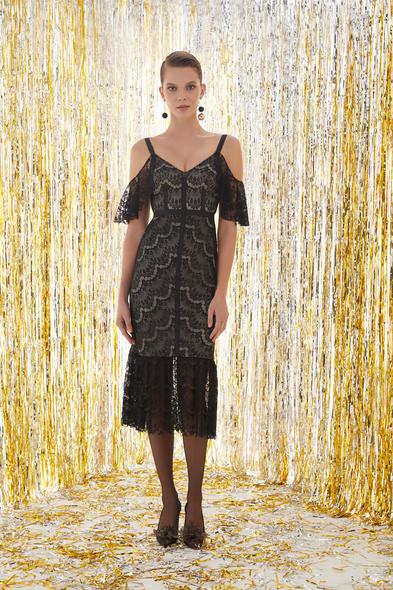 VC by Viola Chan - Dantel İşlemeli Siyah Renk Midi Elbise (1)