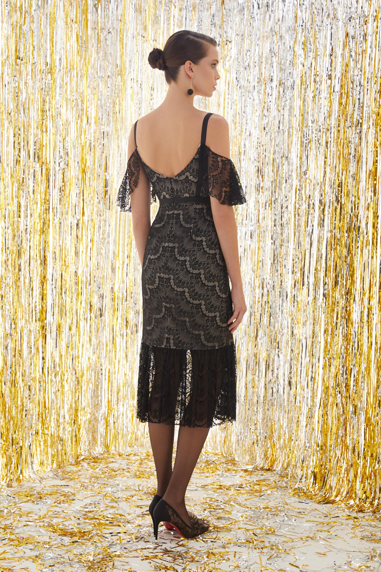 Dantel İşlemeli Siyah Renk Midi Elbise - Thumbnail