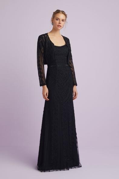 Oleg Cassini - Siyah Straplez Dantelli Bolerolu Uzun Abiye Elbise