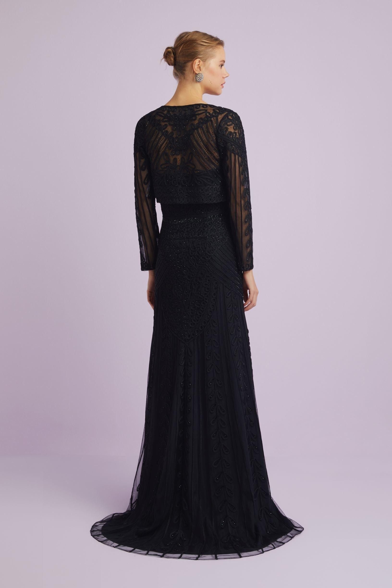 Siyah Straplez Dantelli Bolerolu Uzun Abiye Elbise - Thumbnail