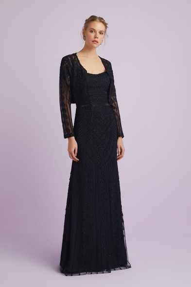 Oleg Cassini - Cepkenli Siyah Dantel İşlemeli Straplez Abiye Elbise