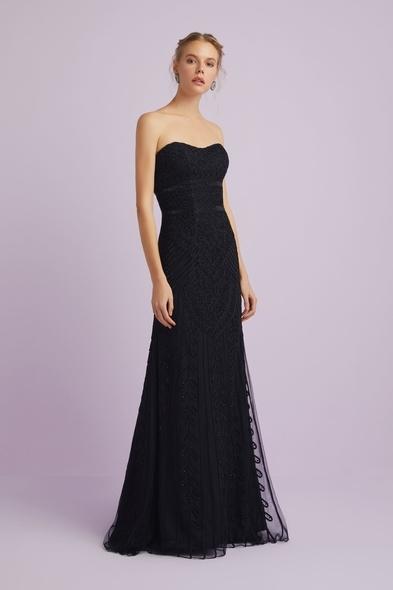 Oleg Cassini - Siyah Straplez Dantelli Bolerolu Uzun Abiye Elbise (1)