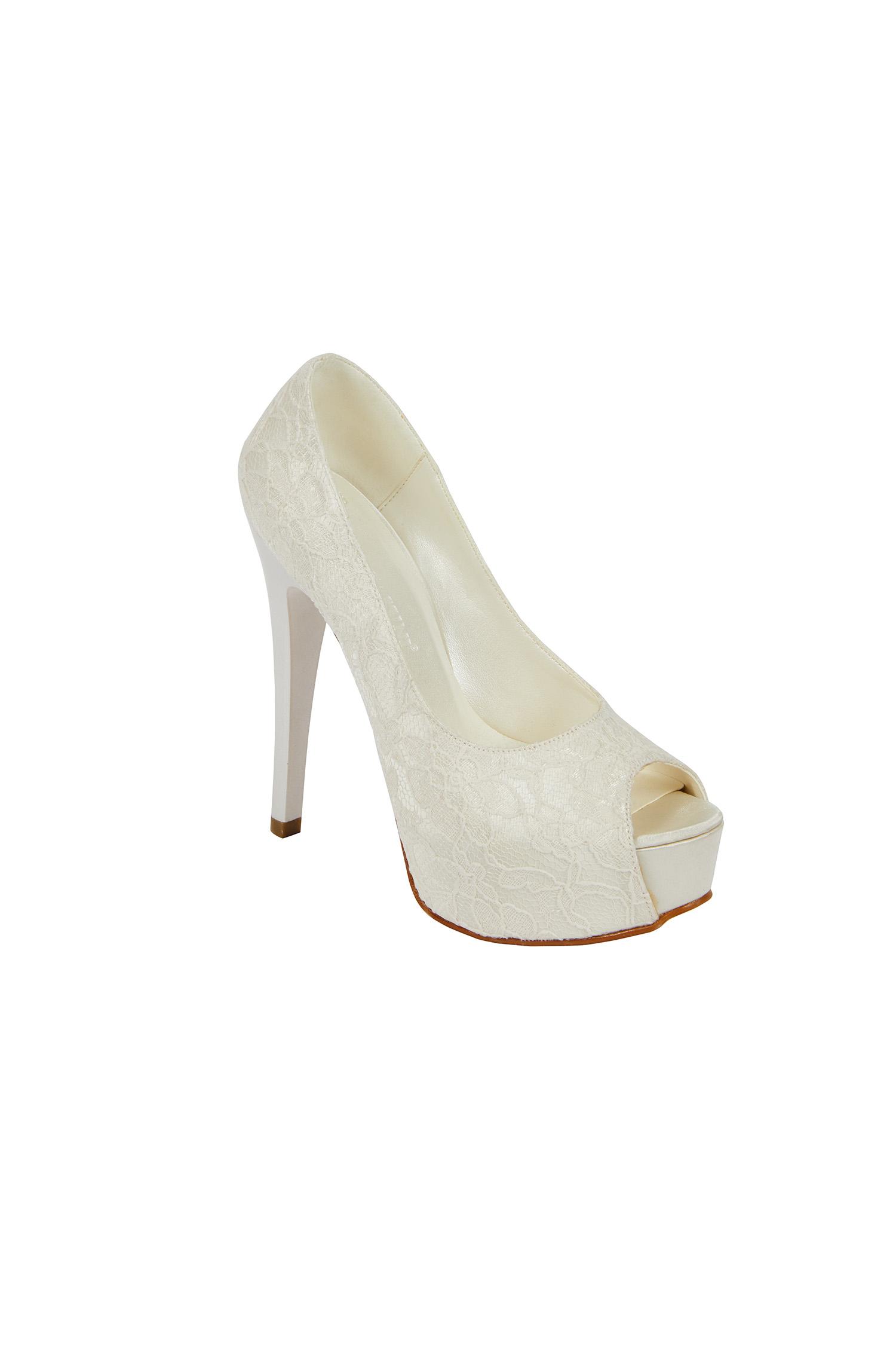 Dantel Kaplamalı Kırık Beyaz Gelin Ayakkabısı