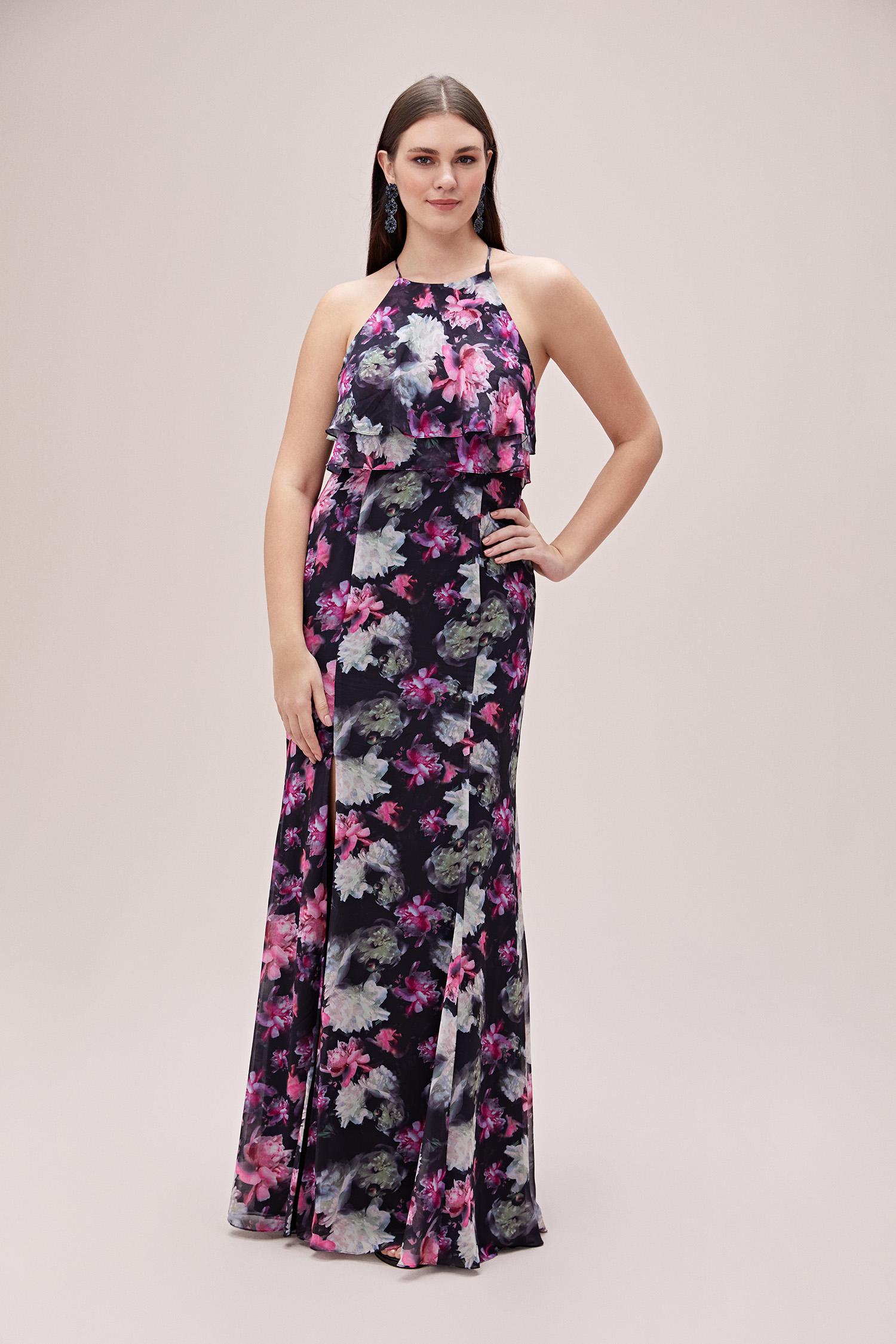 Siyah İp Bağlamalı Çiçekli Şifon Büyük Beden Elbise - Thumbnail