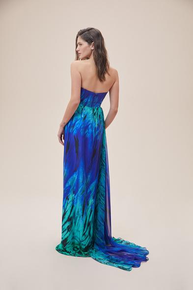 Alfa Beta - Desenli Straplez Yırtmaçlı Saten Uzun Abiye Elbise (1)