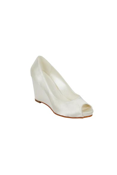 Dolgu Topuk Kırık Beyaz Gelin Ayakkabısı - Oleg Cassini
