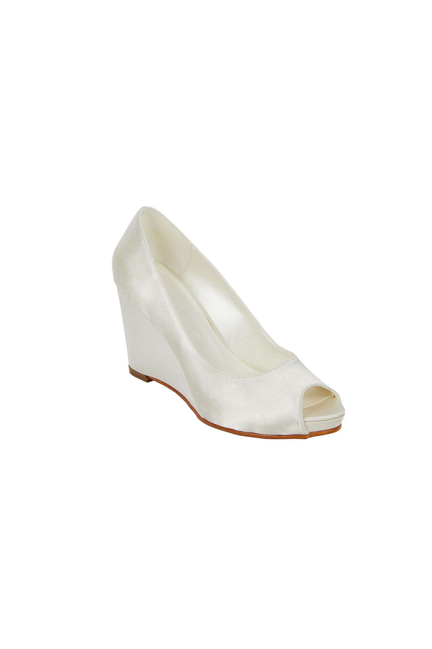 Dolgu Topuk Kırık Beyaz Gelin Ayakkabısı