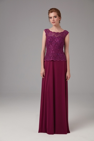 OLEG CASSINI - Bordo Askılı Dantel İşlemeli Uzun Abiye Elbise