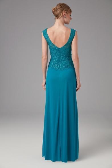 Petrol Mavisi Askılı Dantel İşlemeli Uzun Abiye Elbise
