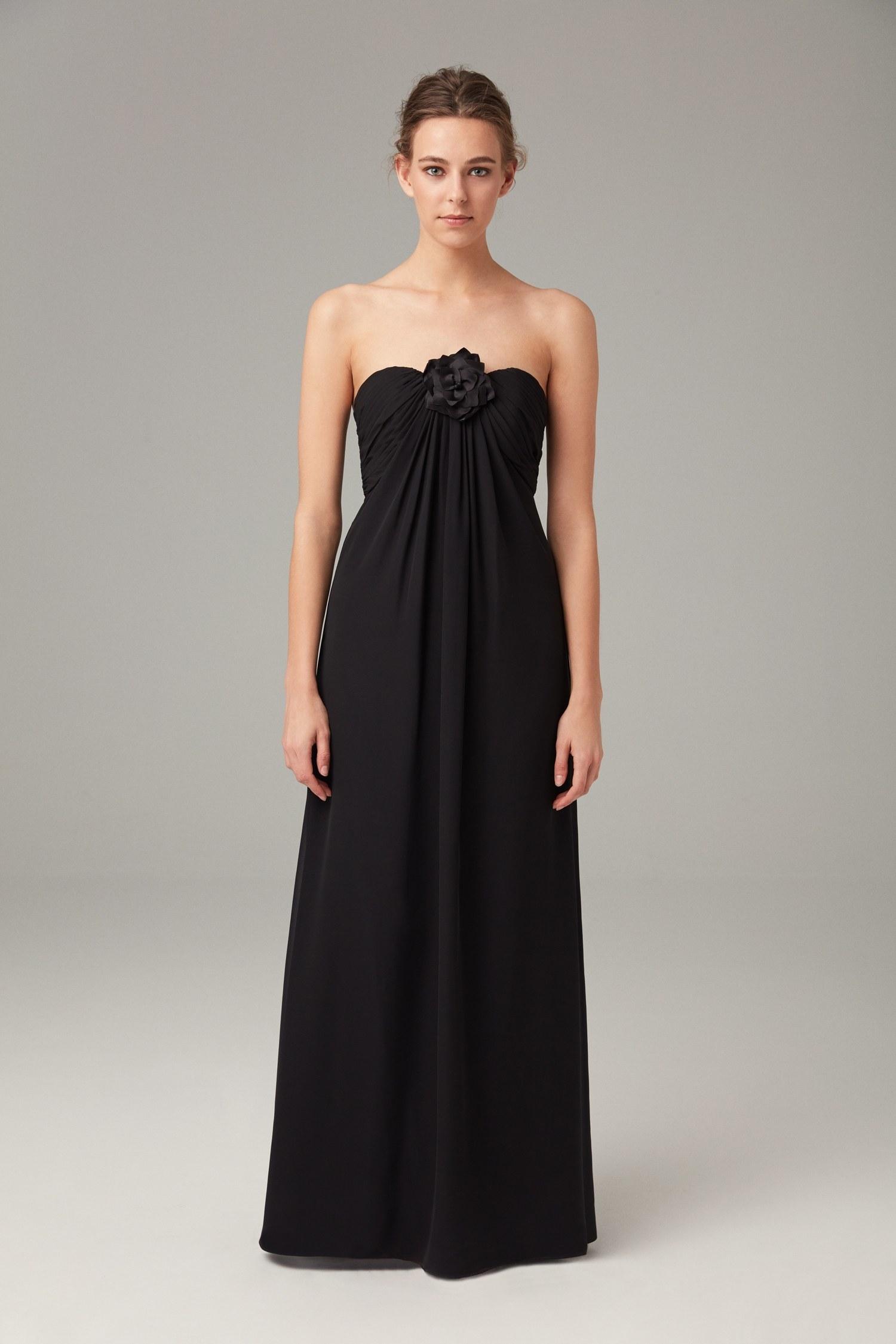 0fcebb459de0c Siyah Straplez Şifon Uzun Gece Elbisesi – Oleg Cassini
