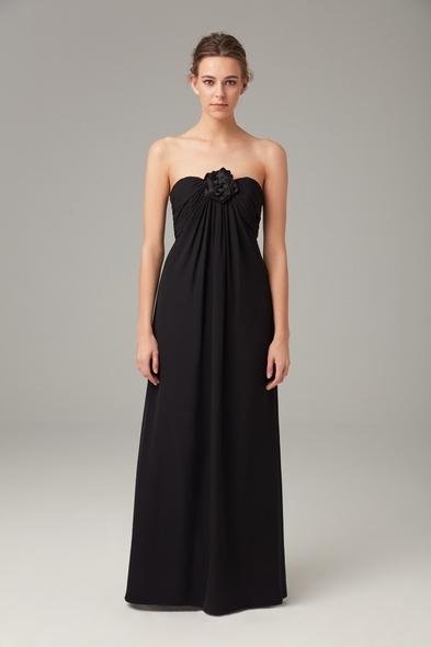 Siyah Straplez Şifon Uzun Gece Elbisesi