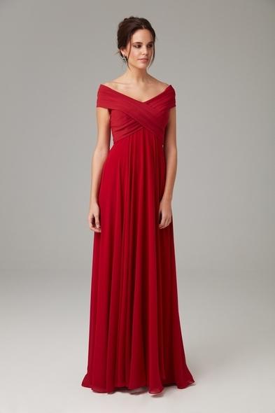 Kırmızı Kayık Yaka Şifon Uzun Abiye Elbise - Oleg Cassini