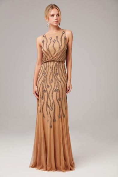 - Nude Askılı Payet İşlemeli Uzun Abiye Elbise - Oleg Cassini