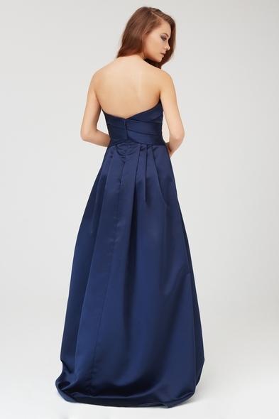 Lacivert Straplez Saten Uzun Abiye Elbise