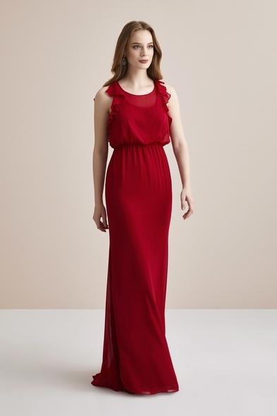 Kırmızı Sırtı Fırfırlı Beli Büzgülü Şifon Uzun Abiye Elbise - Oleg Cassini