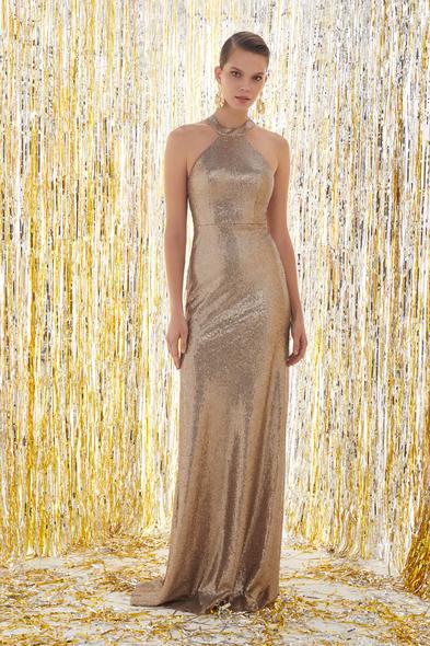 - Halter Yaka Altın Rengi Abiye Elbise - Oleg Cassini