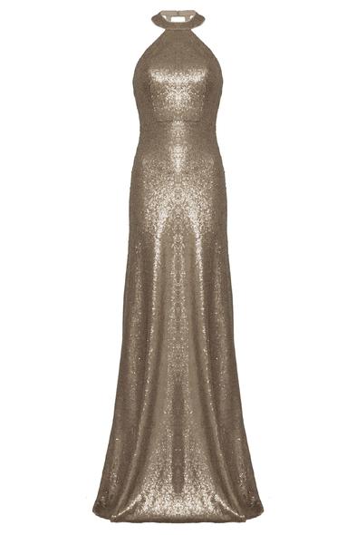 Halter Yaka Altın Rengi Abiye Elbise - Oleg Cassini