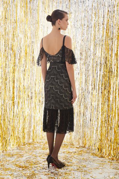 - Dantel İşlemeli Siyah Renk Midi Elbise - Oleg Cassini