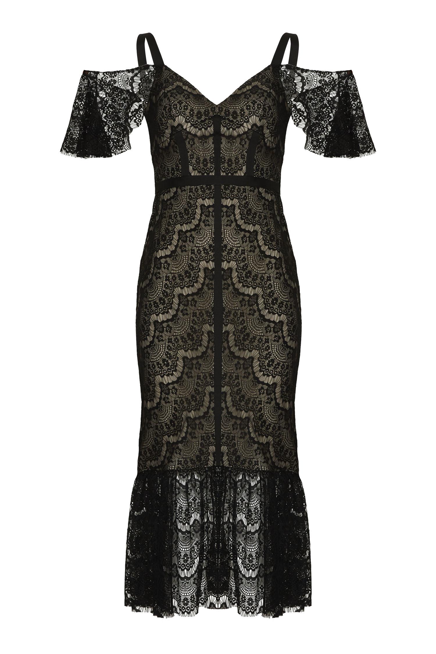 Dantel İşlemeli Siyah Renk Midi Elbise