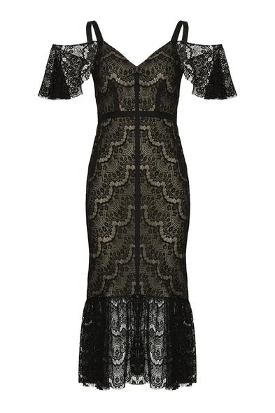 Dantel İşlemeli Siyah Renk Midi Elbise - Oleg Cassini